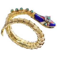 Enamel Diamond and Gold Bangle