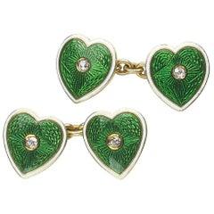Enamel, Diamond and Gold Heart Cufflinks, circa 1915