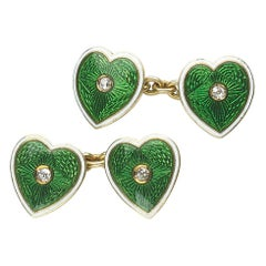 Enamel Diamond and Gold Heart Cufflinks, Circa 1915