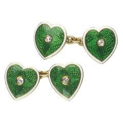 Enamel Diamond and Gold Heart Cufflinks, circa 1915