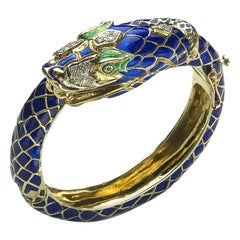 Enamel Diamond and Gold Snake Bangle