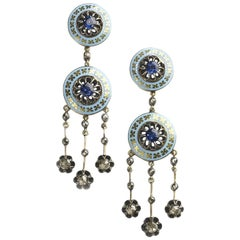 Enamel, Diamond and Sapphire Drop Earrings