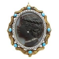Enamel Diamond and Turquoise Cameo Pendant
