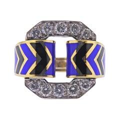 Enamel Diamond Gold Cocktail Ring
