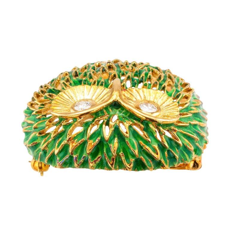 Modern Enamel Diamond Gold Owl Brooch For Sale