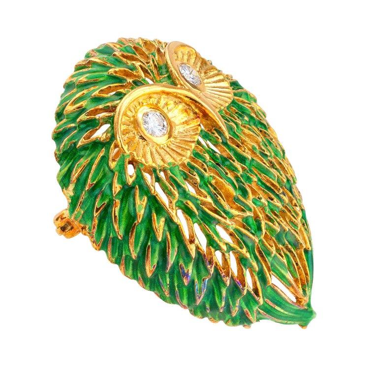 Round Cut Enamel Diamond Gold Owl Brooch For Sale