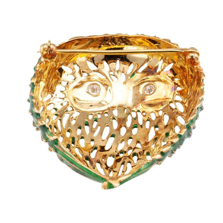 Enamel Diamond Gold Owl Brooch In Good Condition For Sale In Los Angeles, CA