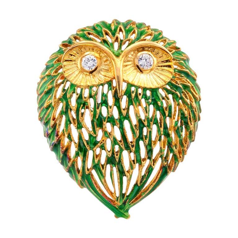 Enamel Diamond Gold Owl Brooch For Sale
