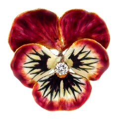 Enamel Diamond Gold Pansy Brooch Pendant