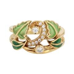 Enamel Diamond Gold Ring