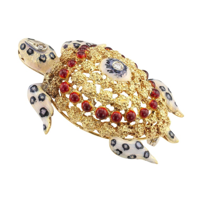 Enamel Diamond Gold Sea Turtle Brooch For Sale