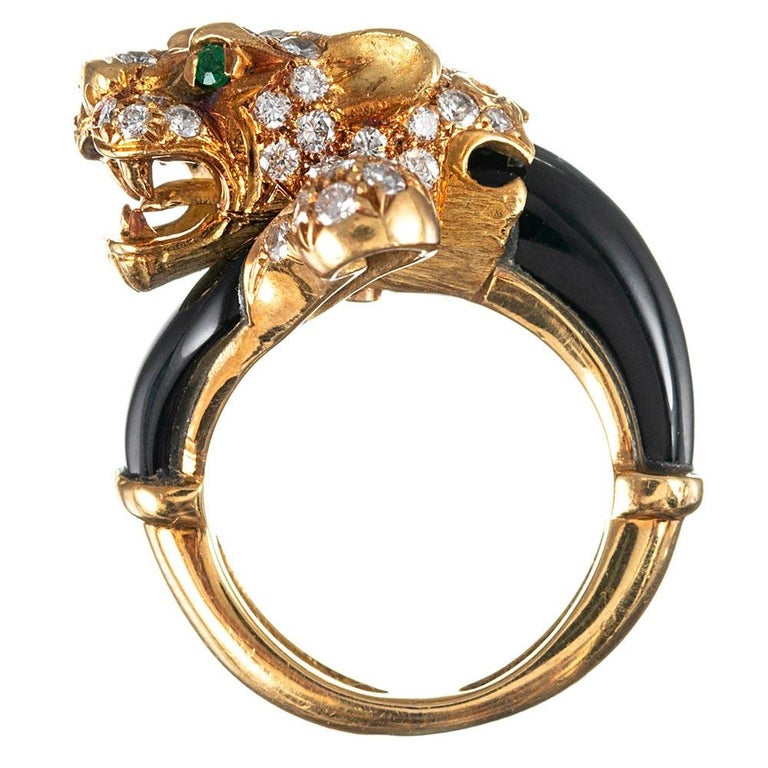 Enamel and Diamond Lion Ring with Emerald Eyes For Sale 1