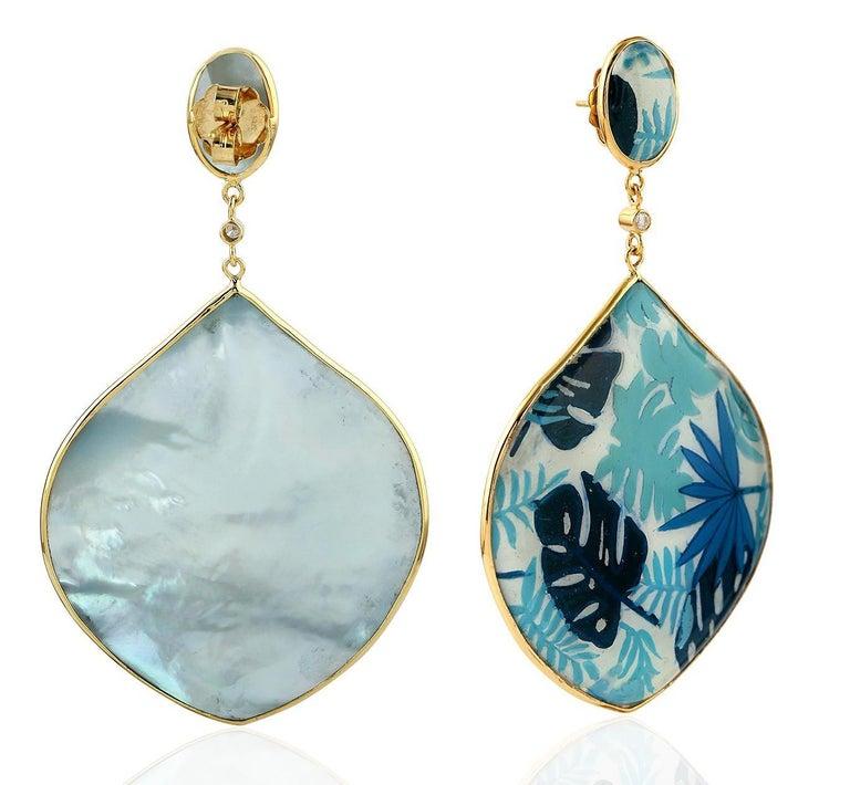 Artisan Enamel Diamond Mother of Pearl 18 Karat Gold Palm Leaf Earrings For Sale