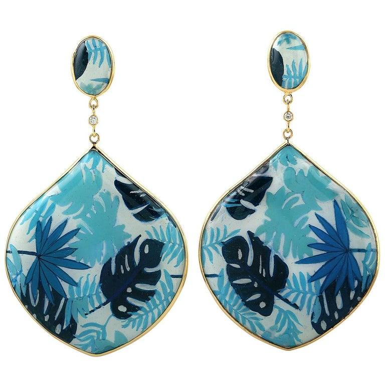 Enamel Diamond Mother of Pearl 18 Karat Gold Palm Leaf Earrings For Sale