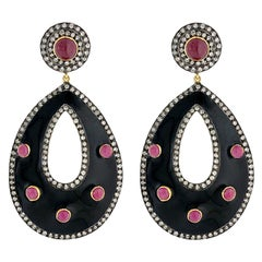 Enamel Diamond Ruby Diamond Earrings