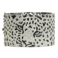 Enamel Diamond Tiger Bracelet Cuff