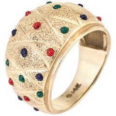 Enamel Dome Cigar Band Ring Vintage 14 Karat Yellow Gold Fine Jewelry