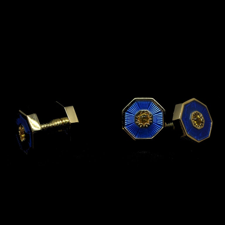Contemporary 18 Karat Yellow Gold Sapphires Guilloche Enamel Dome Double-Sided Cufflinks For Sale