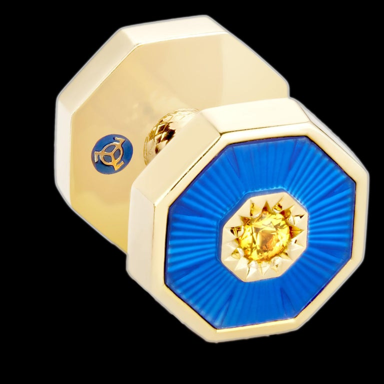 Brilliant Cut 18 Karat Yellow Gold Sapphires Guilloche Enamel Dome Double-Sided Cufflinks For Sale