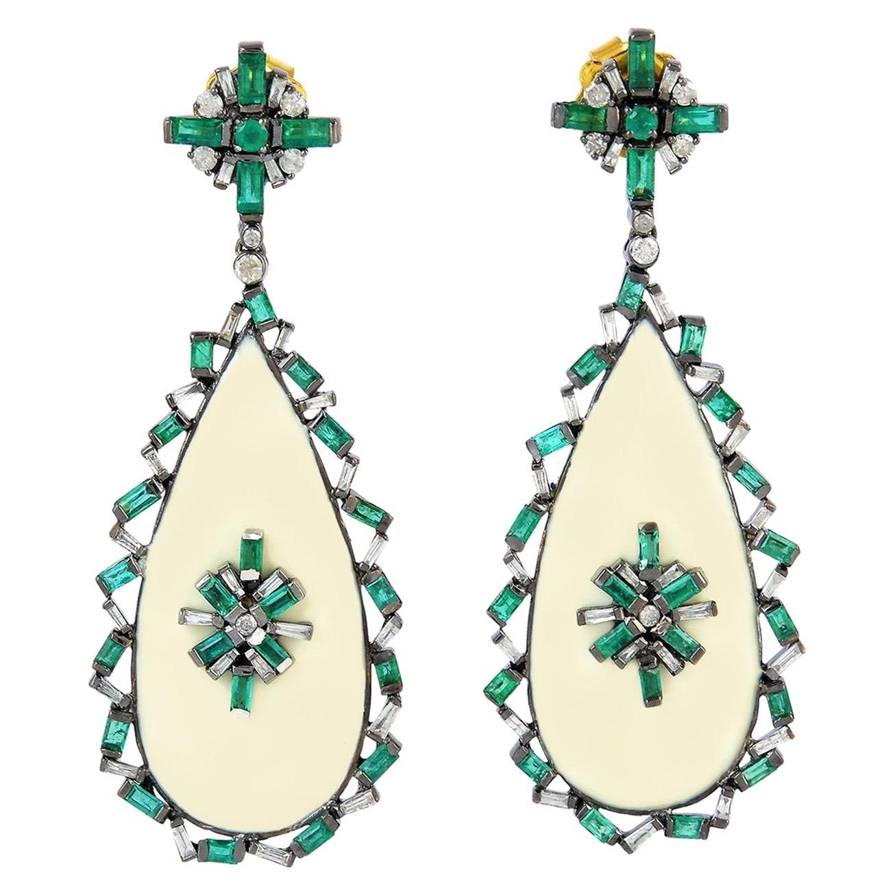 Emerald Baguette Diamond Enamel Drop Earrings