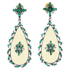 Emerald Baguette Diamond Enamel Drop Earrings