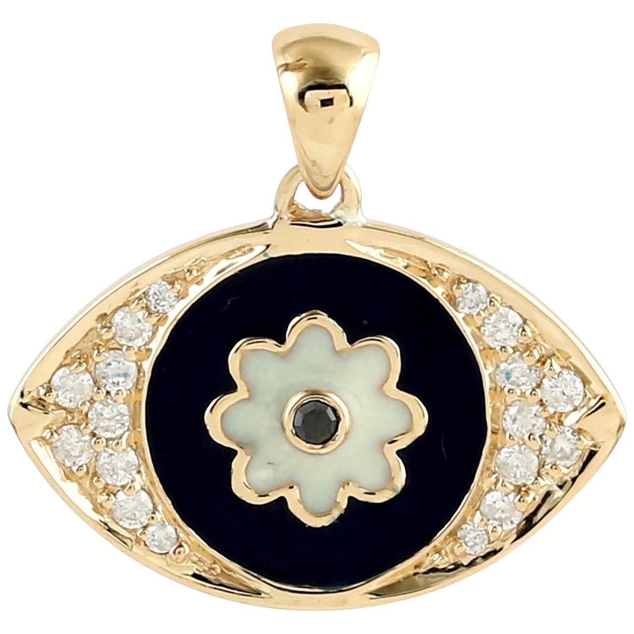 Enamel Evil Eye 18 Karat Gold Diamond Pendant Necklace
