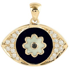 Enamel Evil Eye 18 Karat Gold Diamond Pendant Necklace