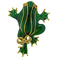Enamel Fancy Diamond Gold Frog Brooch Pin