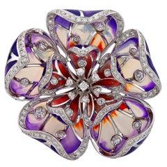 Enamel Flower and 1.23c Diamond Ring, 18ct White Gold Ring, Fvs1 Diamond Flower
