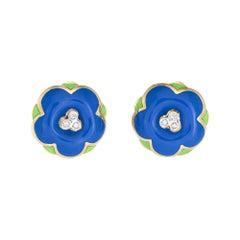 Enamel Flower Earrings Diamond Vintage 18k Yellow Gold Round Button Jewelry
