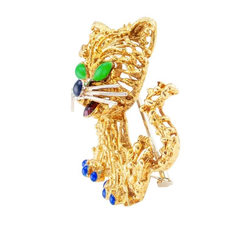 Modern Enamel Gold Cat Brooch For Sale