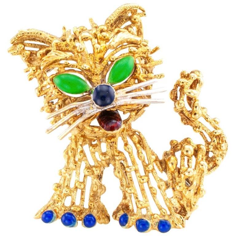 Enamel Gold Cat Brooch For Sale