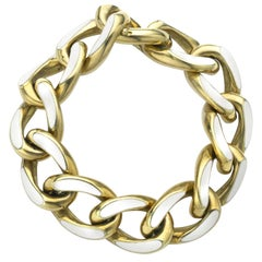 Vintage Enamel and Gold Curb Link Bracelet Circa 1960