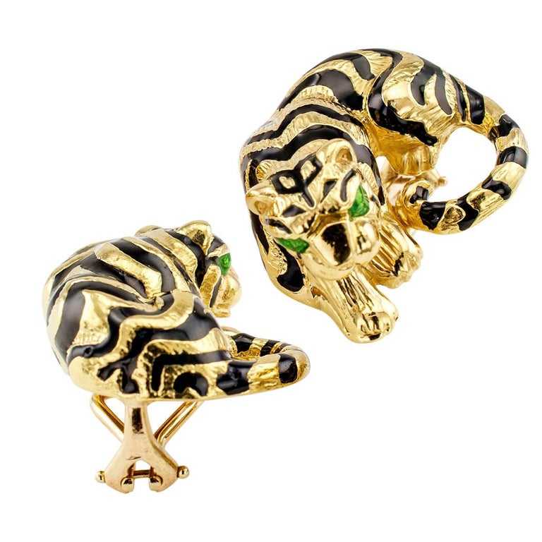 Enamel Gold Tiger Earrings In Excellent Condition For Sale In Los Angeles, CA