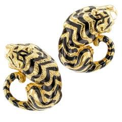 Enamel Gold Tiger Earrings