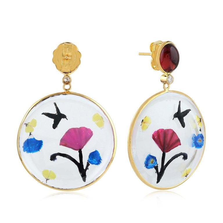 Artisan Enamel Hand Painted Garnet Diamond 18 Karat Gold Earrings For Sale