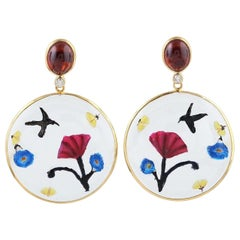 Enamel Hand Painted Garnet Diamond 18 Karat Gold Earrings