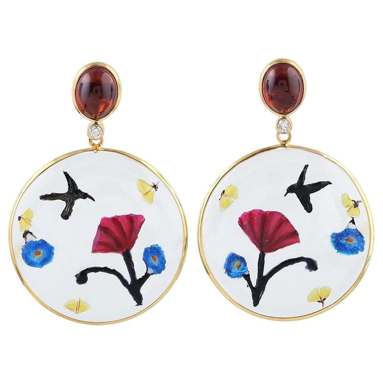 Enamel Hand Painted Garnet Diamond 18 Karat Gold Earrings For Sale