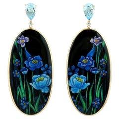 Enamel Hand Painted Blue Flower 18 Karat Gold Diamond Earrings