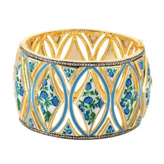 Enamel Hand Painted Diamond Bangle Bracelet