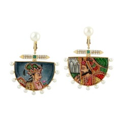 Enamel Hand Painted Diamond Emerald Maharaja 18 Karat Gold Earrings