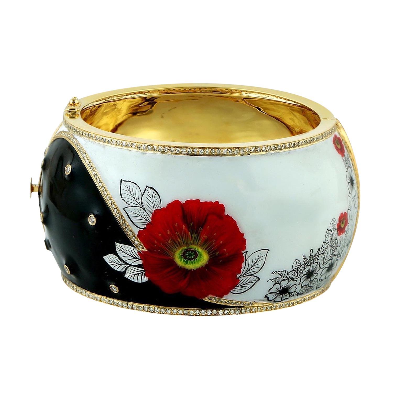 Enamel Hand Painted Diamond Floral Bracelet Cuff