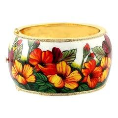 Enamel Hand Painted Diamond Floral Bangle Bracelet