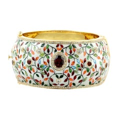 Enamel Hand Painted Garnet Diamond Bangle Bracelet Cuff