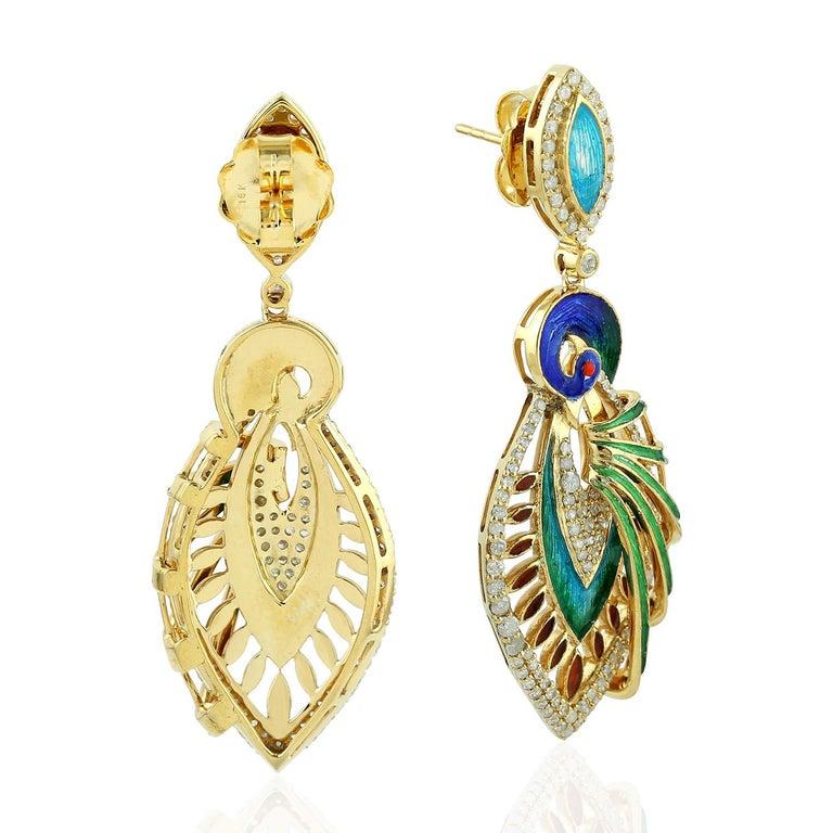 Artisan Enamel Hand Painted Peacock Diamond Earrings For Sale