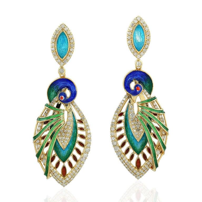 Marquise Cut Enamel Hand Painted Peacock Diamond Earrings For Sale