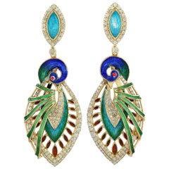 Enamel Hand Painted Peacock Diamond Earrings