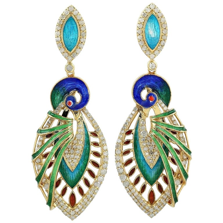 Enamel Hand Painted Peacock Diamond Earrings For Sale