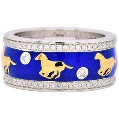Enamel Horse Motif Diamond Ring 18 Karat White Gold