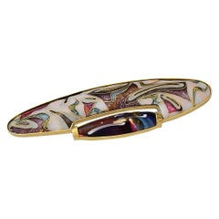 Enamel in 24,22 & 18 Karat Gold & Sterling Silver, Dichroic Glass Brooch/Pendant